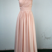 Pearl Pink Prom Dress, Sheath/Column One Shoulder Floor-length Chiffon Prom Dress