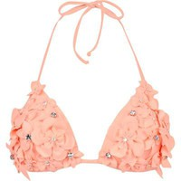 light orange 3d flower bikini top - bikinis - swimwear / beachwear - women - River Island
