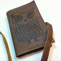 small leather handprinted journal sketchbook custom for you large owl