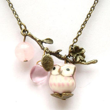 Antiqued Brass Leaf  Quartz Pink Jade Porcelain Owl by gemandmetal