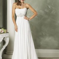 Empire Strapless Chapel train Chiffon wedding dress for brides 2012 Style(WDL0062) [WDL0062] - $146.98 :