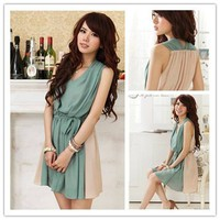 New Fashion Korean Sweet Chiffon V-Neck Lined Sleeveless Women's Dress Skirts