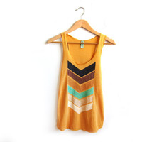 Geo Arrows Racerback Hand Stenciled Slouchy Scoop Neck Swing Tank Top in Heather Gold- S M L XL