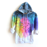 "The Original ""Splash Dyed"" Hand PAINTED Fleece Pocket Zip Hoodie Sweatshirt in White Spectrum Rainbow - XS S M L XL 2XL 3XL"