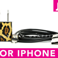 DOUBLE TROUBLE iPhone 5 Charger - Funky Cheetah Print on Black iPhone 5 Charger