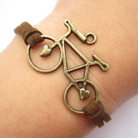 Bike bracelet---antique bronze 3d love bike & brown wax rope chain