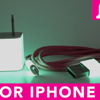 2in1 Glow in the Dark Pink iPhone 5 Charger - iPad Mini Charger - iPod Charger