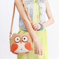 Lovely Khaki Color-blocking Owl Bag