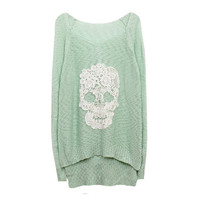 Mint Lace Batwing Knit With Skull Motif from FUNKISS