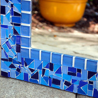 Decorative Wall Mirror, Blue Mosaic CUSTOM
