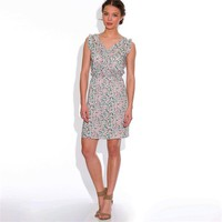Sleeveless Printed V-Neck Dress with Flounce Detail