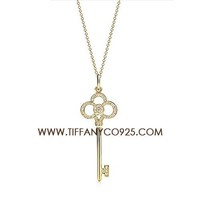 Shopping Cheap Tiffany Keys Crown Key Pendant Gold Necklace with Diamond At Tiffanyco925.com - Discount Tiffany Necklaces