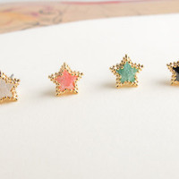 star earrings CHOOSE ONE  White / coral / mint / black