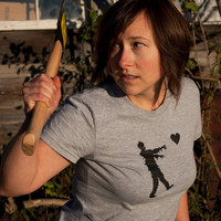 Zombie t-shirt women's Grey 8bit pixel zombies love size Medium American Apparel shirt