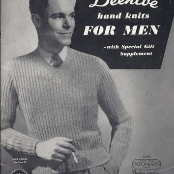 Vintage Beehive Hand Knits for Men No. 39 Knitting Patterns Cardigans Pullovers Socks Mitts 1930s 1940s