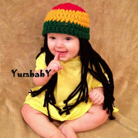 Baby Hats Rasta hat Photo Props Toddler Costume, Beanie Wig, Yellow Green Rasta, Baby Rasta Dreads, Black Dreadlocks, Baby Wig