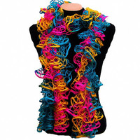 Knitted multicolor (Pink,Turquoise, Yellow) ruffled scarf by Arzu&#x27;s Style