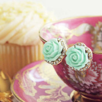 Rose Bud Stud Earrings in Mint, Sweet Bohemian Jewelry