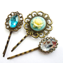 Blue Rose Cameo and Rhinestone Vintage style Bobby Pin Set hair clips slides cream grips antique bronze retro