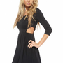 Black 3/4 Sleeve Side Cut Out Skater Dress