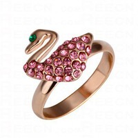 Pink Diamond Swan Gilded Ring - Diamond Rings - Rings - Jewelry