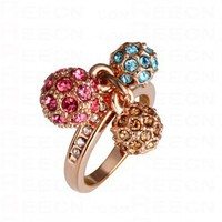 Multicolor Three-Ball Diamond Gilded Ring - Diamond Rings - Rings - Jewelry