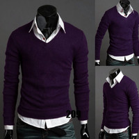 Chic Trendy Vogue Men's V-neck Sweater Blouse Slim Men Bottoming Shirt