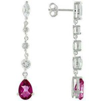 Hot Pink Topaz Dangle Earrings 4.02ctw