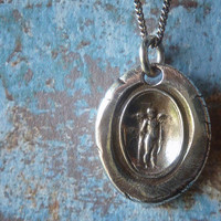 Guardian Angel. Someone to Watch Over Me. James Tassie Intaglio Gem Wax Seal Necklace.Wax Seal Jewelry