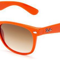 Ray-Ban RB2132-902 New Wayfarer Sunglasses,Orange Frame/Gradient Brown Blue Lens,55 mm