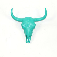The Malm - Turquoise Resin Buffalo/Bison Skull Head- White Faux Taxidermy- Chic &amp; Trendy