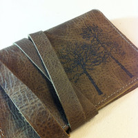 forest leather passport case cover handprinted custom by inblue