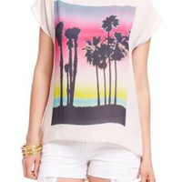 Amazon.com: 2B Cali Palm Graphic Print Top: Clothing