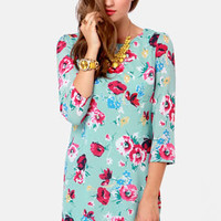 Poppy Love Light Blue Floral Print Dress