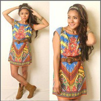 Vtg 70s Boho Indie Gypsy Hippie Victorian Coachella Printed Tunic Dress Asos