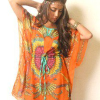 Vtg 70s Silk Orange Gypsy Indie Tribal Hippie Sheer Coachella Coverup Tunic Hot!