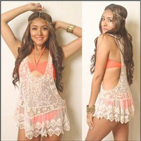 Vtg Boho Indie Gypsy Hippie Racerback Lace Tank Sheer Embroidery Beach Coverup