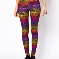 Leggings in Rainbow Aztec Print