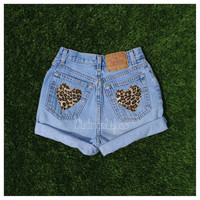 High Waist Denim Leopard Heart Pocket Jean Shorts  ALL Sizes available