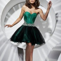 BallGown Sweetheart Short/Mini Organza Green Homecoming Dress with Beading at Msdressy