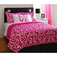 Girl Pink White Damask Love Twin Comforter Set (3pc)