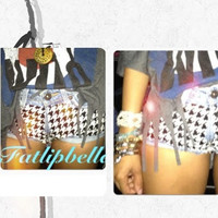 Houndstooth booty shorts with studs by FatLipBella on Etsy