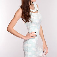 Mint White Floral Mesh Cut Out Dress