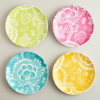 Spring Floral Plates, Set of 4