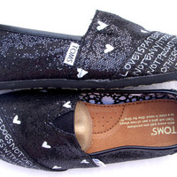 The Juliet  Black and White Glitter Custom TOMS by FruitfulFeet