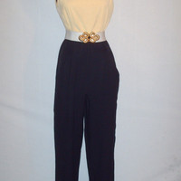 Vintage 1980s Yellow and Black Jumpsuit