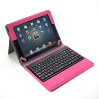 Lumsing Hot Pink Premium New Wireless Bluetooth Keyboard Folio Leather Case Cover Magnetic Smart Stand for iPad 2 New Apple iPad 3 3rd Gen &