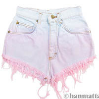 "ALL SIZES ""MACAROON"" Vintage Levi high-waisted denim shorts pink pastel ombre dip dyed distressed frayed jeans"