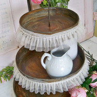 Three tiered dessert tray large food plate rusty rustic wedding display piece home decor Anita Spero