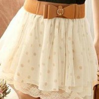 Polka Dots Chiffon Skirt with Mesh & Lace